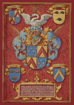 Arms of Lois de la Fontaine, c.1480, Tempera colors and gold on parchment