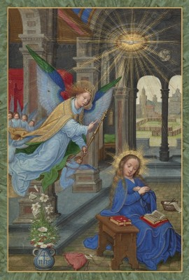 The Annunciation, c.1520,  Tempera colors, gold paint, and gold leaf on parchment
