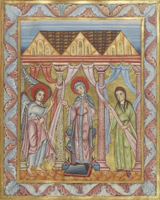 The Annunciation, c.1025, Tempera colors and gold on parchment