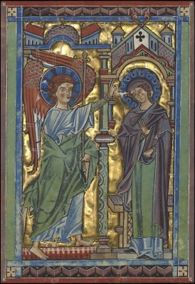 The Annunciation, c.1240, Tempera colors, gold leaf, and silver leaf on parchment