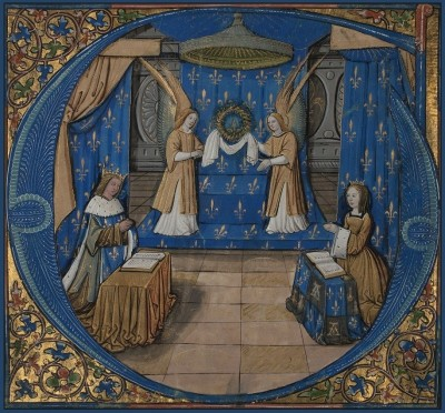 Anne of Brittany to the Holy Crown of Thorns, c.1506, Illumination from the Grandes Heures of Anne of Brittany, Tempera colors on parchment