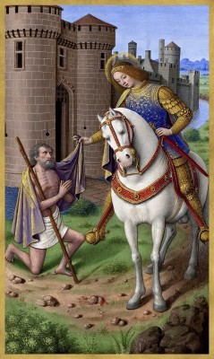 Saint Martin of Tours cutting his cloak in two, c.1500, Tempera colors on parchment