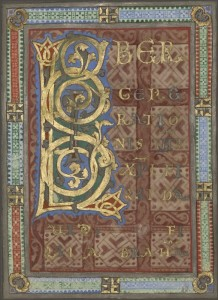 Decorated Incipit from the Gospel of Saint Matthew, c.1130, Tempera colors, gold, and silver on parchment