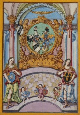 Second Frontispiece with the Derrer Coat of Arms, c.1626, Tempera colors, gold and silver highlights on parchment