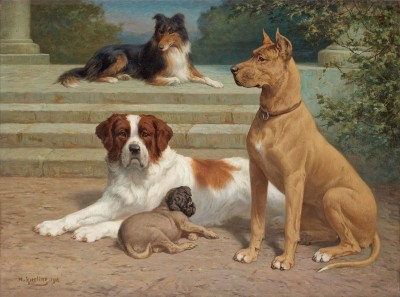 A Group of Regal Canines, c.1908, Oil on Canvas