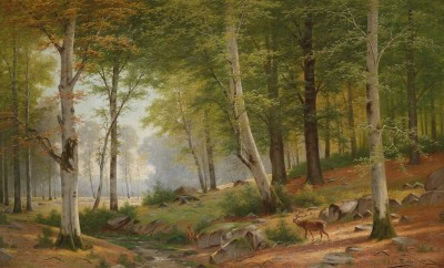 Romantic Landscape with Red Deer, c.1900, Oil on Canvas