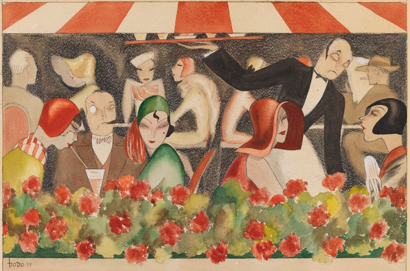 Cafe Hanging Garden, c.1929, Gouache and Watercolor on Vellum