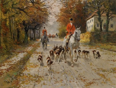Setting Off for the Hunt, c.1910, Oil on Canvas