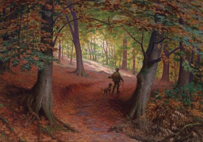 Hunter in an Autumn Woodland, c.1910, Oil on Canvas