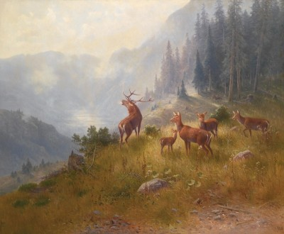 Stag with His Pack, c.1882, Oil on Canvas