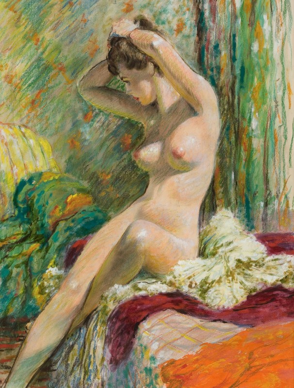 Seated Nude, c.1957, Gouache and Tempera on Board