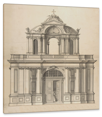 Design for the Façade of a Berlin Building, c.1780, Pen and Brown Wash