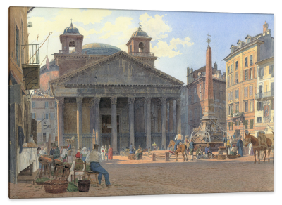 The Pantheon and the Piazza della Rotonda in Rome, c.1836, Watercolor on Parchment