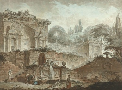 The Ancient Roman Villa Sacchetti, c.1778, Ink with Watercolor on Parchment
