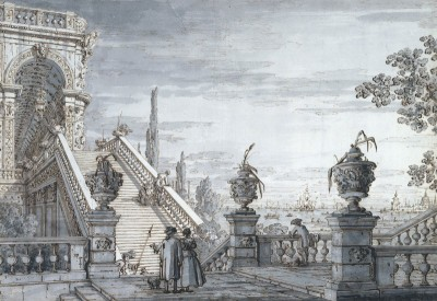 A Capriccio with a Monumental Staircase, c.1760, Ink, with Grey Wash