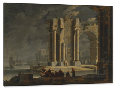 Southern French Seaport with Roman Ruins, c.1740, Oil on Canvas
