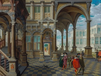 Nobility in the Courtyard of the BeNeLux Royal Palace, c.1631, Oil on Panel