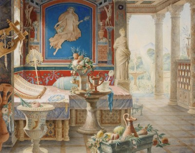 Architectural Fantasy in the Style of Pompeii, c.1865, Pencil and Watercolour