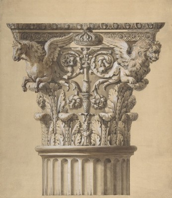 The Elevation of a Capital and Part of the Fluted Shaft, c.1762, Pen and Ink, Wash and Gouache