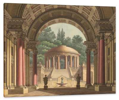 Portico Opening Onto a Raised Circular Temple, c.1800, Ink and Watercolor