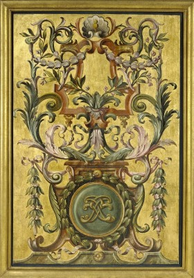 Guilded, French Chateau Panel, c.1661, Painted and Gilded Oak Panel