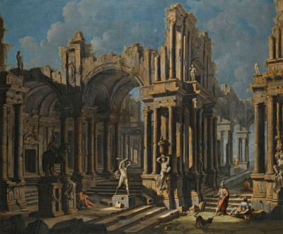 Architectural Capriccio with a Statue of Hercules, c.1700, Oil on Canvas