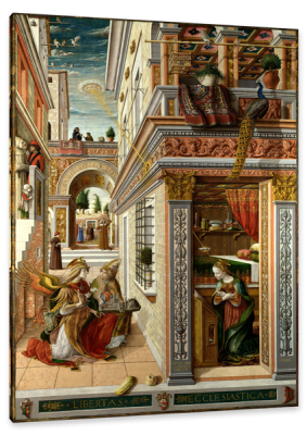 The Annunciation with-Saint Emidius, c.1490, Oil on Poplar