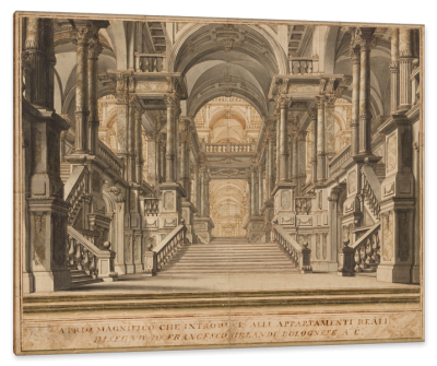 A Palace Entrance Hall with a Grand Staircase, c.1760, Ink with Brown Color Wash
