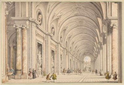 View of the Great Vaulted Portico of the Villa Albani, Rome, c.1750, Ink and Color Wash