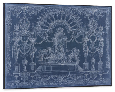 17th Century Design Blue-Print for a French Chateau, c.1688, White Pencil on Blue Paper