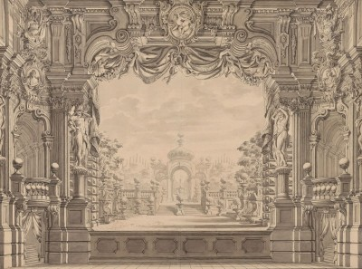 Elaborate Stage Set Design for the Theater in der Josefstadt, Vienna, c.1790, Parchment