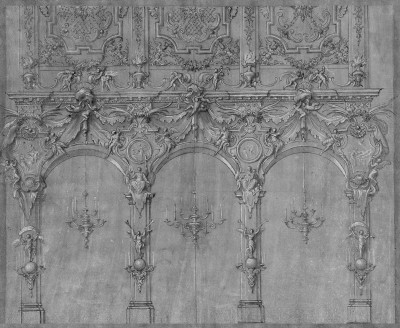 Design Element for a 17th Century Italian Villa, c.1670, Pastel on Woven Paper