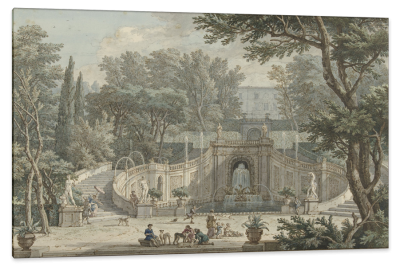 View of the Garden of Villa d'Este in Tivoli, c.1725, Ink and Watercolor on Parchment
