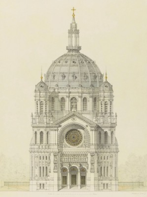 Architectural Sketch of Saint-Augustin, Paris, c.1848, Pencil and Color Wash