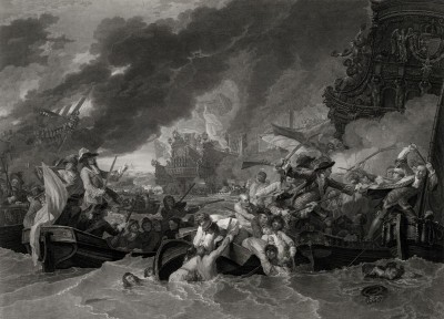 The Battle at La Hogue, c.1692, Engraving