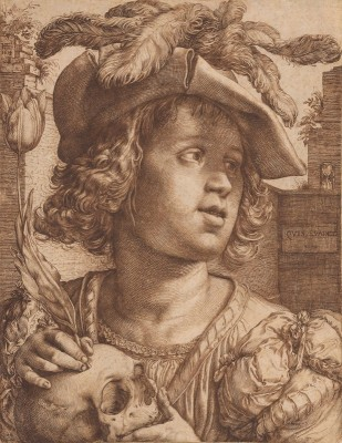 Young Man Holding a Skull and a Tulip, c.1614, Engraving