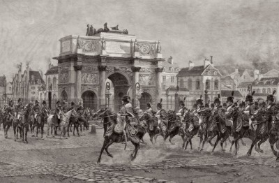La Revue, Napoleon I, Reviewing Cavalry at Arc de Triomphe, Paris, c.1810, Engraving