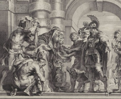 High Priest Melchizedek Brings Abraham Bread and Wine, c.1638, Engraving