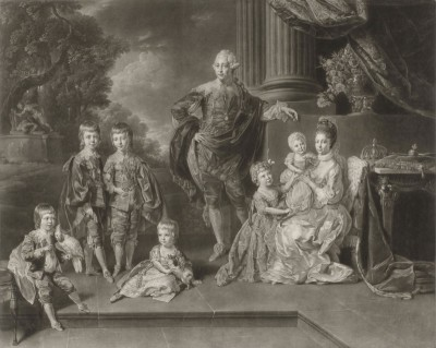 George III of England and His Family, c.1776, Engraving