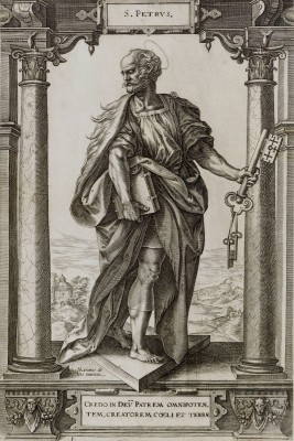 Saint Peter Stands Between Two Columns, c.1578, Engraving