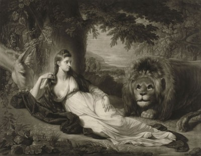 Portrait of Miss Hall in a Landscape With a Lion, c.1762, Engraving