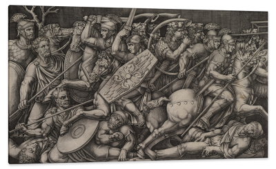 Roman Soldiers Fighting Dacians, Relief on the Arch of Constantine in Rome, c.1553, Engraving