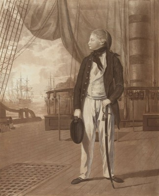 Portrait of Prince William Henry aboard a warship of the British Royal Navy, c.1780, Engraving