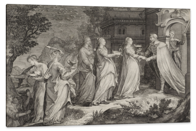 Receipt of the Wise Virgins by the Groom, c.1605, Engraving