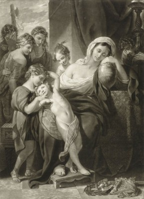 Agrippina weeping over the ashes of Germanicus, c.1770, Engraving