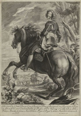 Portrait of Count Albert de Ligne on Horseback, c.1650, Engraving