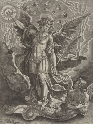 Saint Michael Banishes Rebellious Angel, c.1602, Engraving