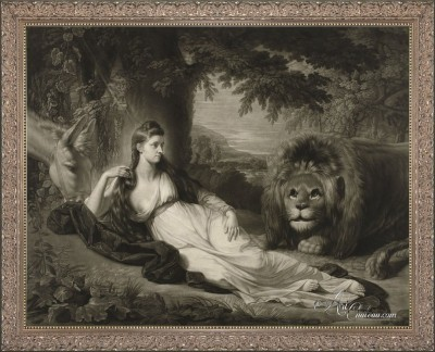 Portrait of Miss Hall with a Lion, after Benjamin West