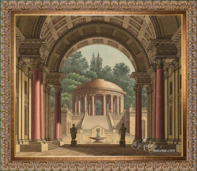 Circular Temple, after Vintage Architectural Print, Louis XVI Style