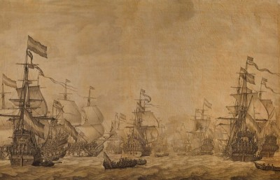 The-Dutch-Fleet-Under-Sail, c. 1668, On Vellum with Brown Ink
